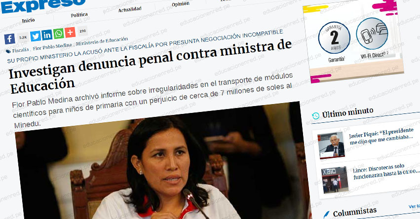 Investigan denuncia penal contra Ministra de Educación, Flor Pablo Medina