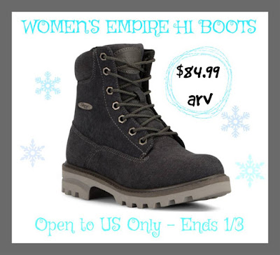 Enter the Lugz Women's Empire Hi Boots Giveaway. Ends 1/3 Open US
