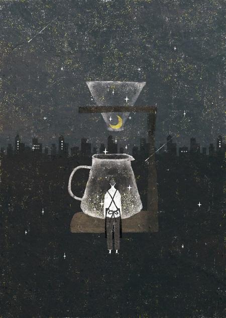 by Akira Kusaka | dibujos de soledad y tristeza, chidas imagenes lindas y tristes de emociones y sentimientos bajo la luna y las estrellas | deep emotional sad drawings