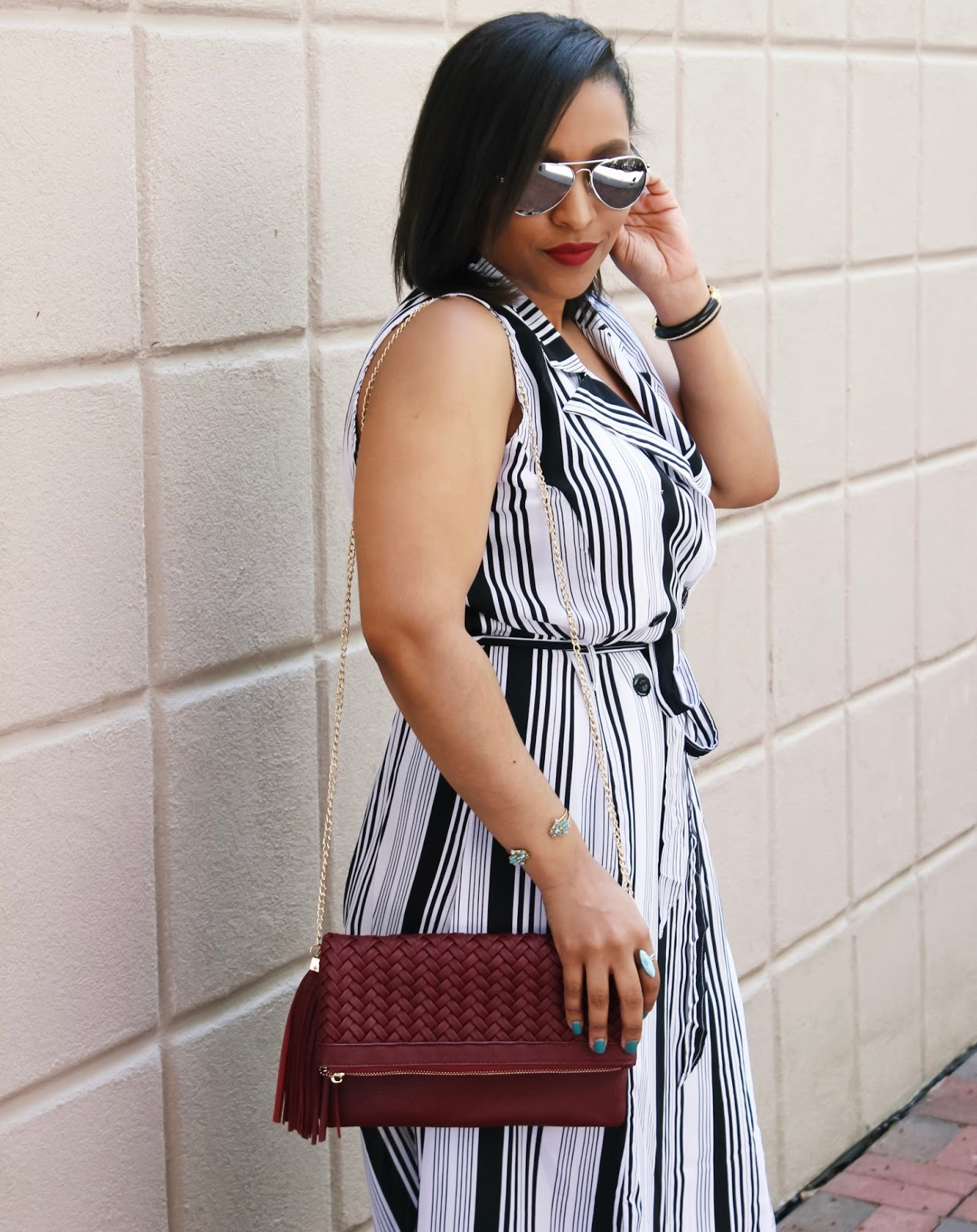summer dress, spring dress, striped dress, shoulder bag, fringe purse, ankle strap heels, bob haircut, summer bucket list