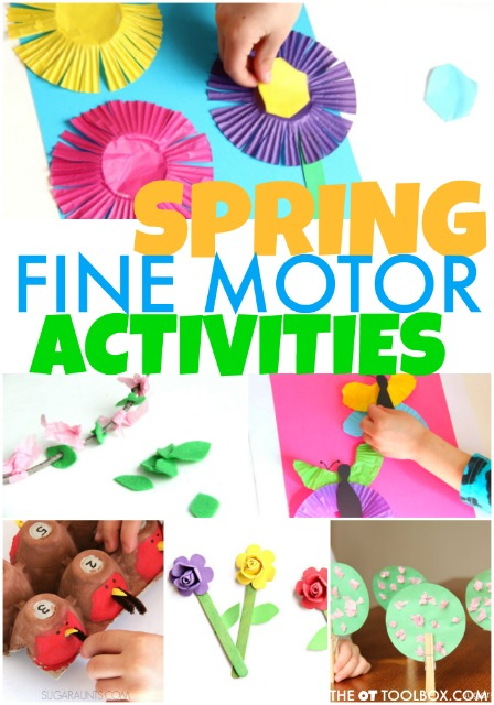 These Spring fine motor activities are great to help kids develop hand strength, pencil grasp, grasp, and precision with bunny activities, flower activities, and other Spring theme ideas for kids.