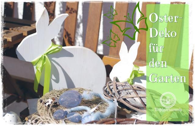 Gartenblog Topfgartenwelt Osterdeko: natürliche, moderne Dekoration für den Garten mit Hasen, Eiern, Bellis und Hornveilchen