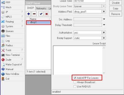 Gambar Konfigurasi DHCP pada Mikrotik RouterOS
