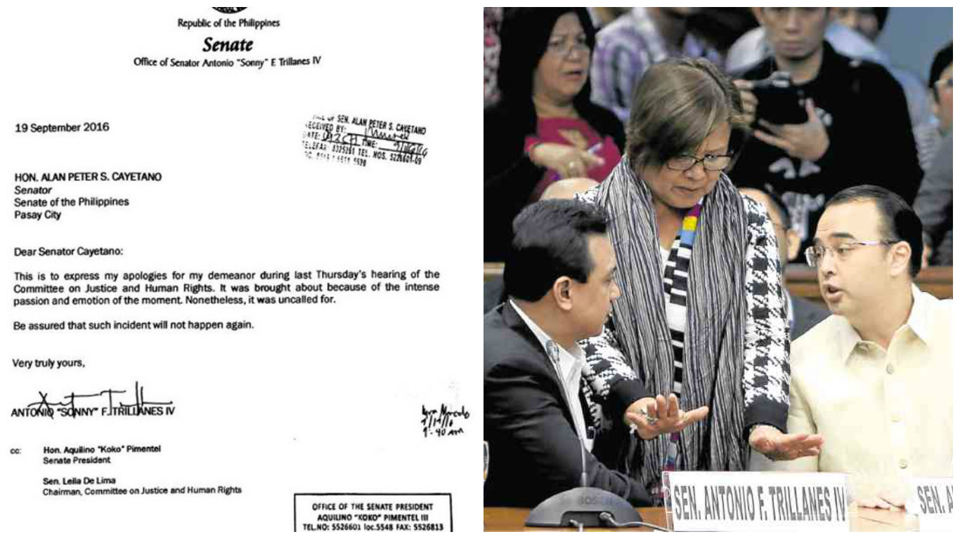 """Trillanes apologizes to Cayetano for """"uncalled for"""" act"""