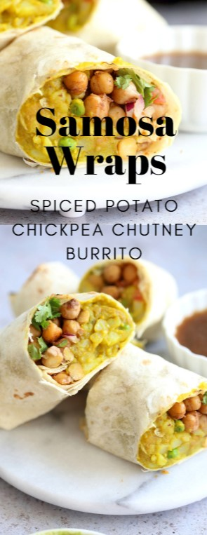 Spiced Potato Chickpea Chutney Burrito