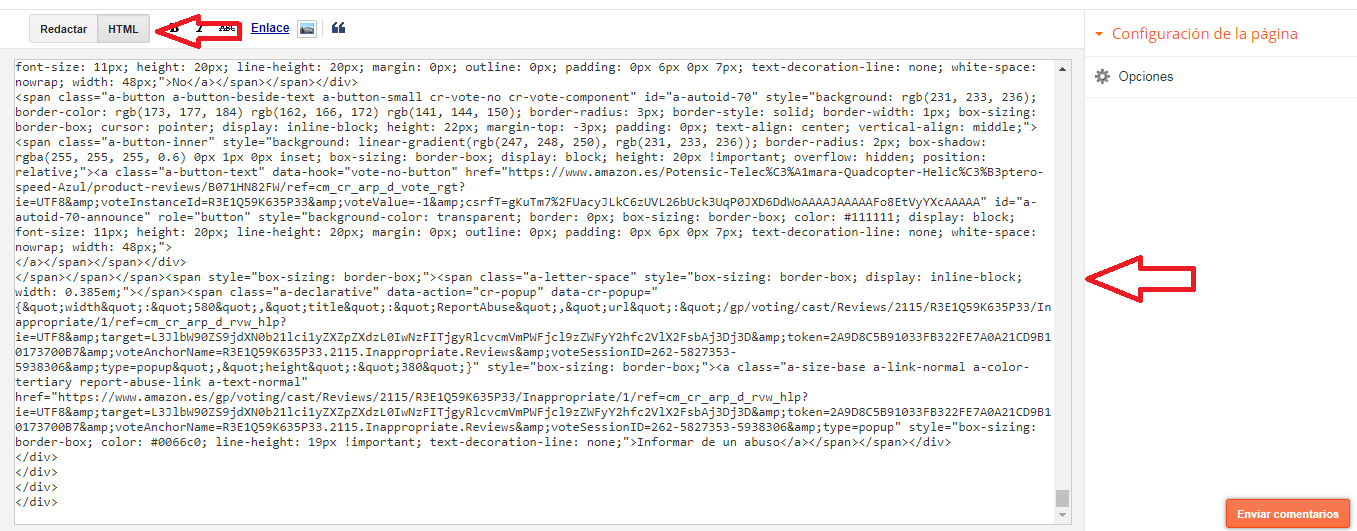coloca html en blogger
