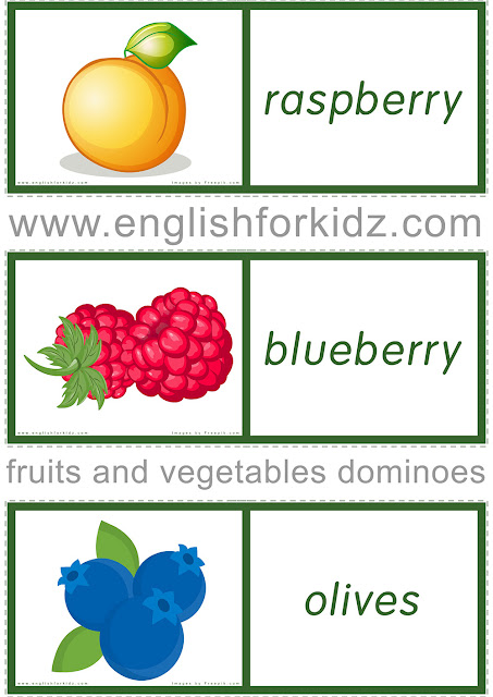 Printable domino game to learn English names of fruits and vegetables