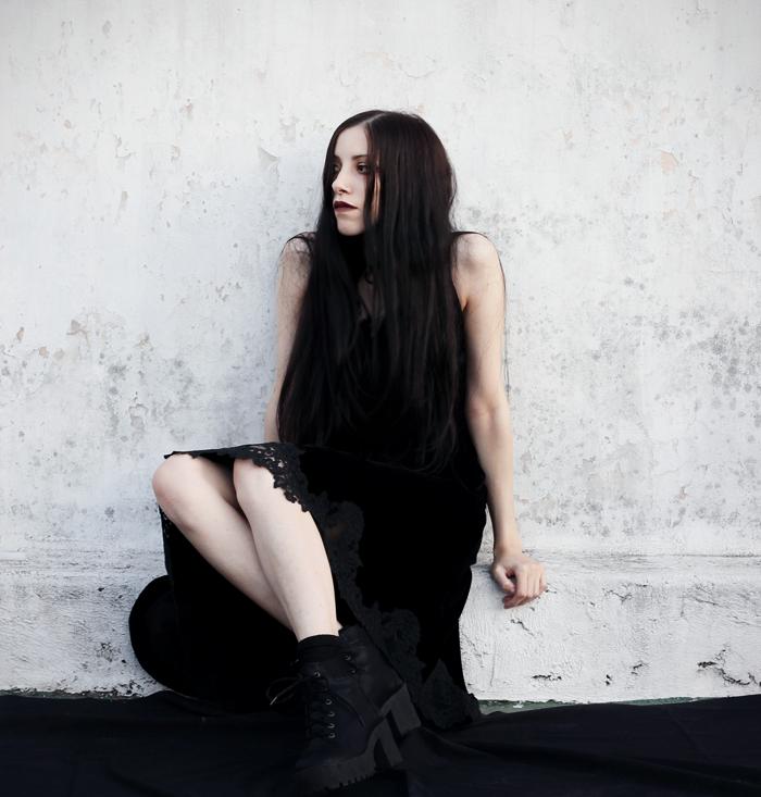 outfit, black, velvet, lace, dress, metisu, lune, nocturne,