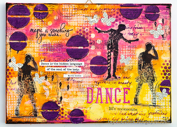 Layers of ink - Mixed Media Layers with Stencils and Stamps Canvas Tutorial by Anna-Karin Evaldsson, with acrylic paint.