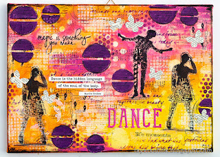 Layers of ink - Dance Mixed Media Canvas, Layers with stencils and stamps by Anna-Karin Evaldsson