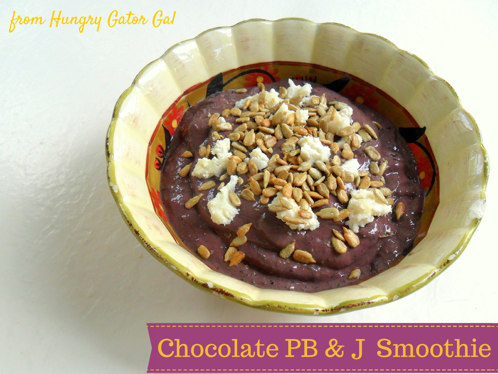 Chocolate PB & J Smoothie (made with PB2) from Hungry Gator Gal