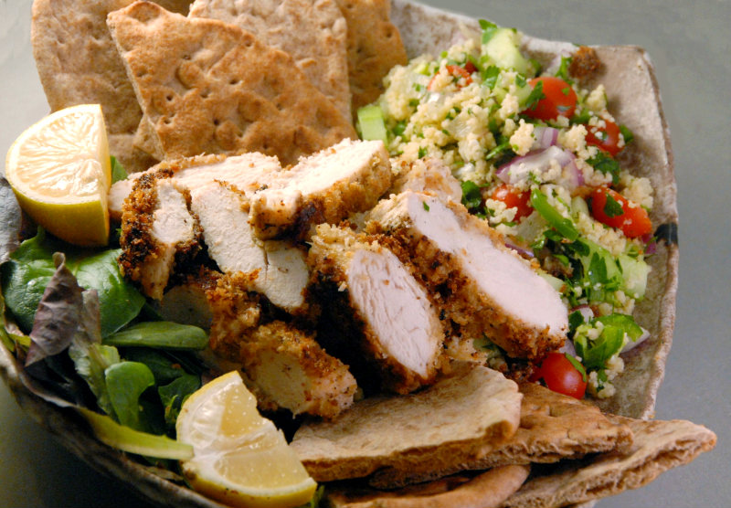 Hummus Crusted Chicken and Couscous Tabbouleh