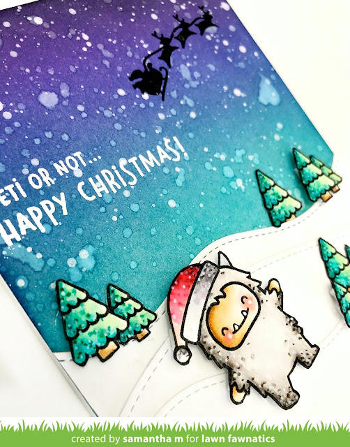 Yeti or Not, Happy Christmas Card by Samantha Mann for Lawn Fawn's Fawny Holiday Week, Lawn Fawn, Christmas, Cards, Christmas card, distress inks, ink blending, yeti #lawnfawn #fawnyholidayweek #christmas #cards #distressinks