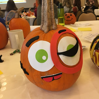 Decorated pumpkin during Family Development Meeting, Fall Program Conference