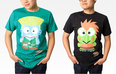 Street Fighter x Sanrio T-Shirt Collection - Hangyodon as Guile & Keroppi as Blanka