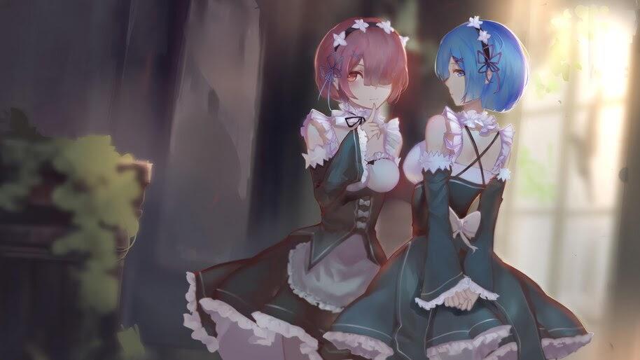 Ram, Rem, Anime, Girl, Maid, Re:Zero, 4K, #4.2743