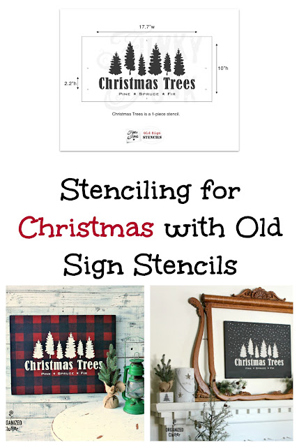 New Christmas Trees Stencil From Old Sign Stencils #Oldsignstencils #stencil #artcanvas #upcycle #garagesalefind #RusticChristmas #buffalocheck  #Christmastree #neutralChristmas