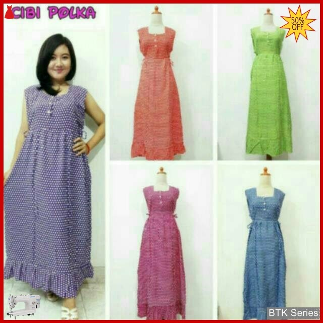 BTK018 Baju Cibi Polka Dasrter Dress Baju Murah BMGShop