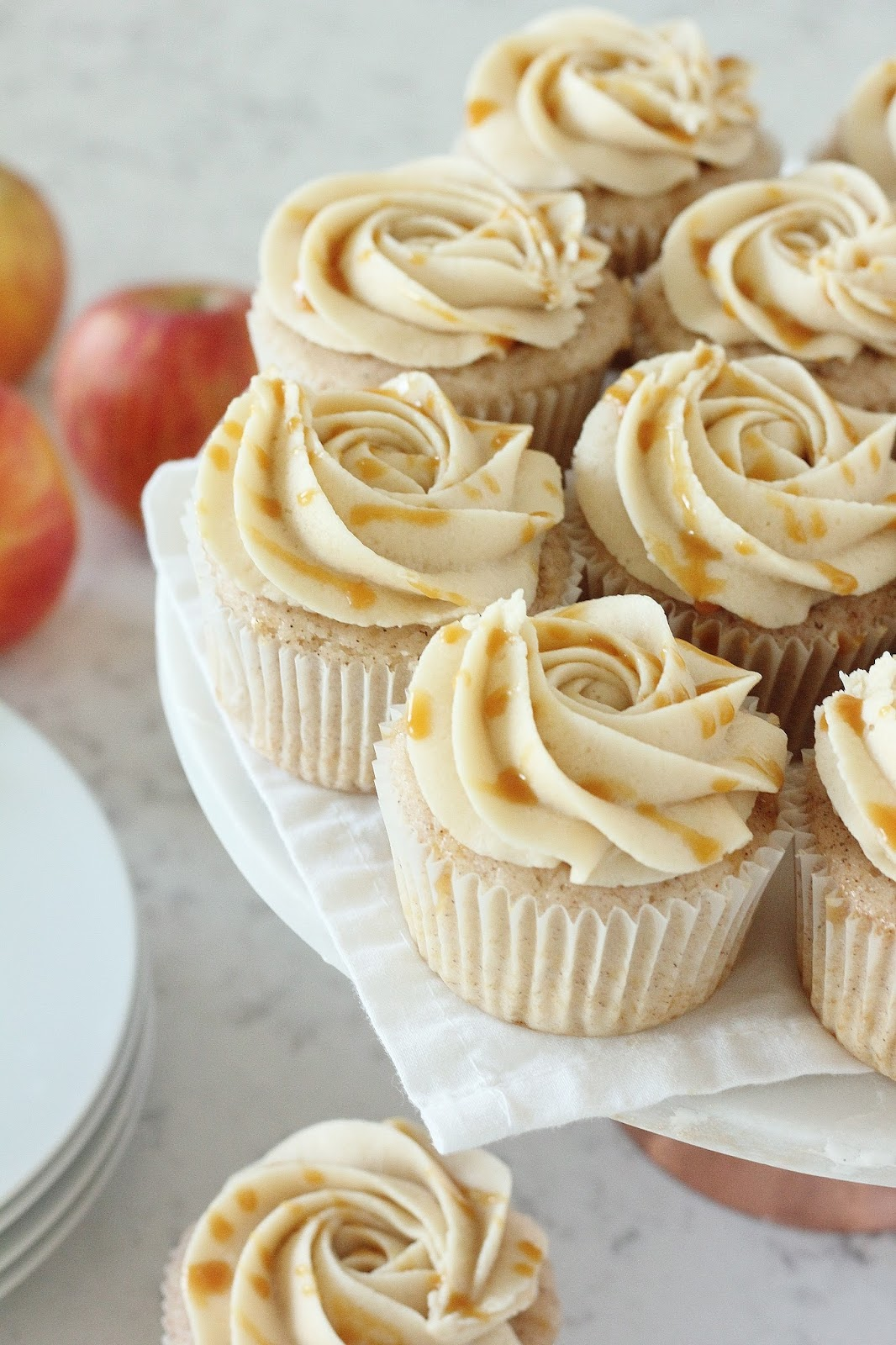Salted Caramel Apple Cider Cinnamon Cupcakes