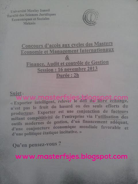 Master Economie et Management Internationaux Finance, Audit et Contrôle de Gestion