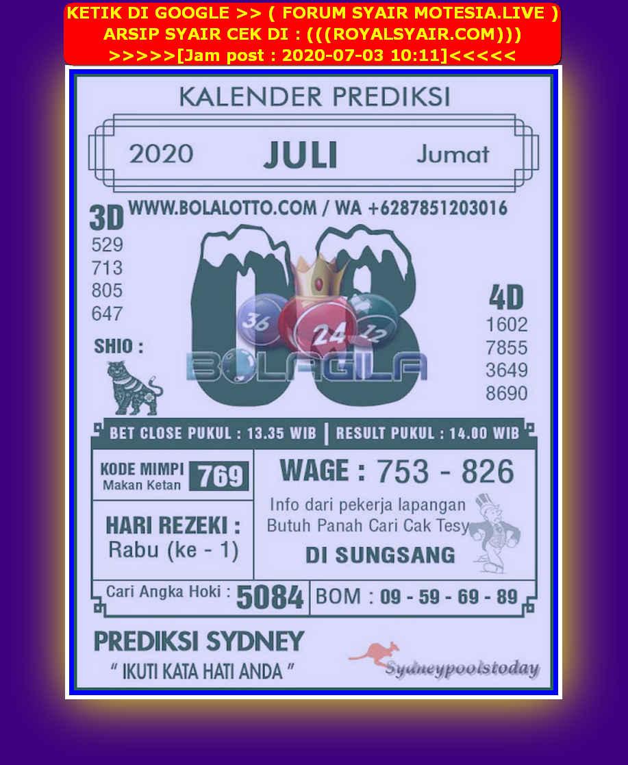 Kode syair Sydney Jumat 3 Juli 2020 129