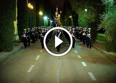 Banda Tres Caídas de Triana trabajando la marcha Al Cielo el Rey de Triana dedicada al Cristo de las Tres Caídas que procesiona en la Madrugada de Sevilla cada Semana Santa