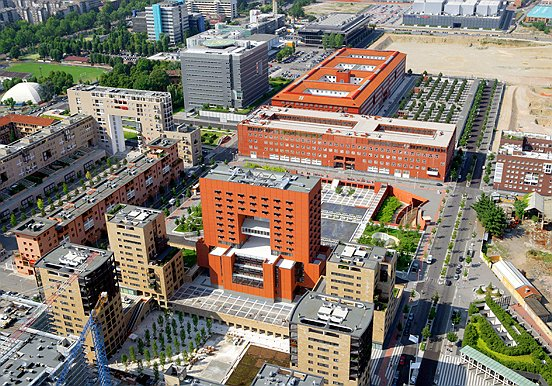 Milan, Bicocca, University of Milano-Bicocca, aerial view of the Piazza della Trivulziana commercial centre there