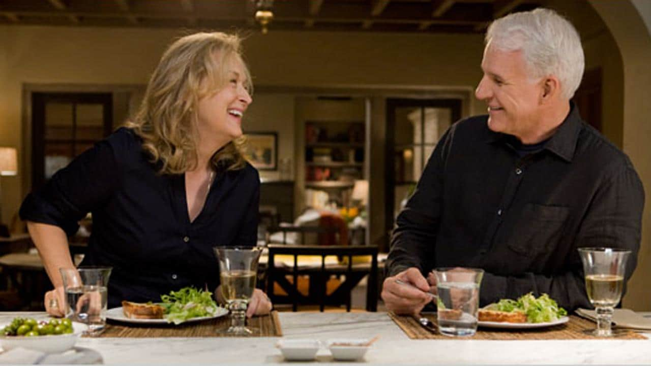 Meryl Streep and Steve Martin in It's Complicated movie kitchen