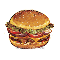 An original, watercolor and digital hamburger clipart illustration great for small business use and fun, personal projects.