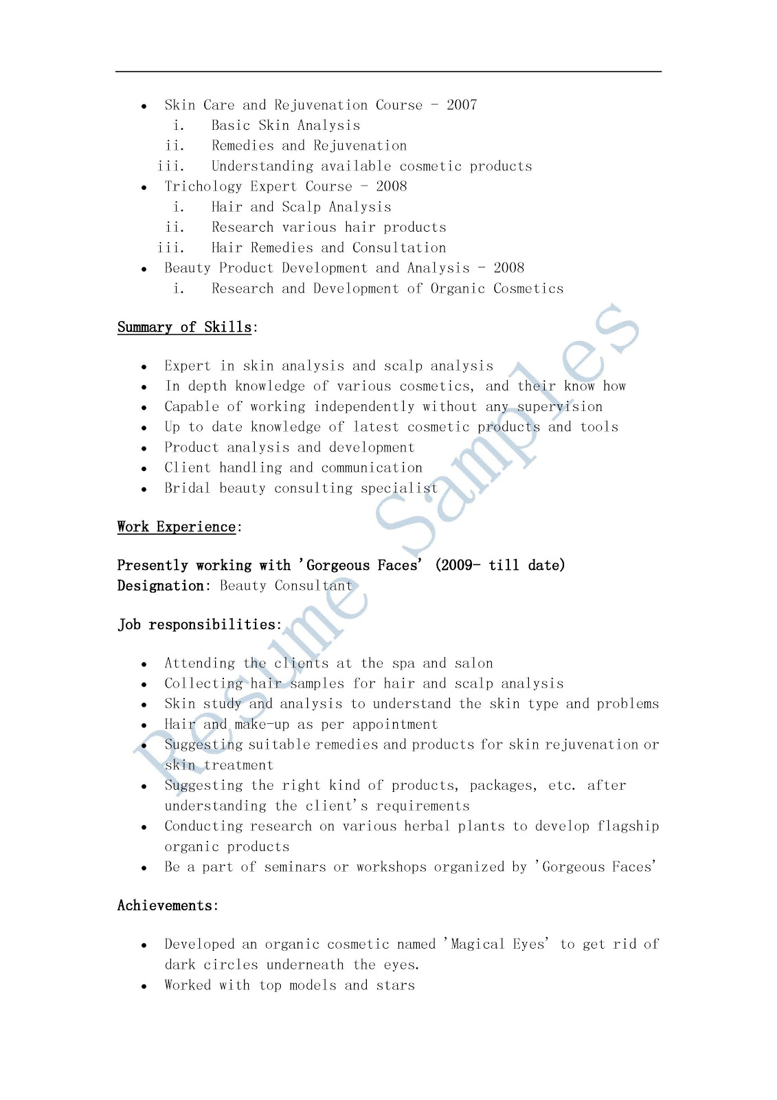 Sample Resume For Beauty Consultant. cosmetic sales resume ...