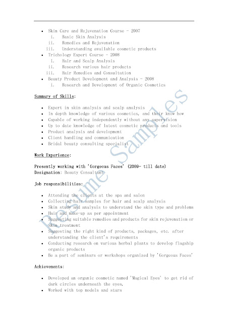 cosmetology resume samples