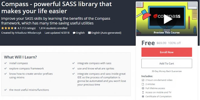 [100% Off] Compass - powerful SASS library that makes your life easier |Worth 69,99$