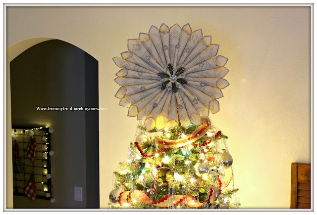 Vintage Inspired Farmhouse Christmas Tree-Tree Topper- Book Page Wreath- DIY- From My Front Porch To Yours