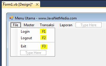 VB .Net - Cara Membuat Shortcut Pada Form Menu Utama