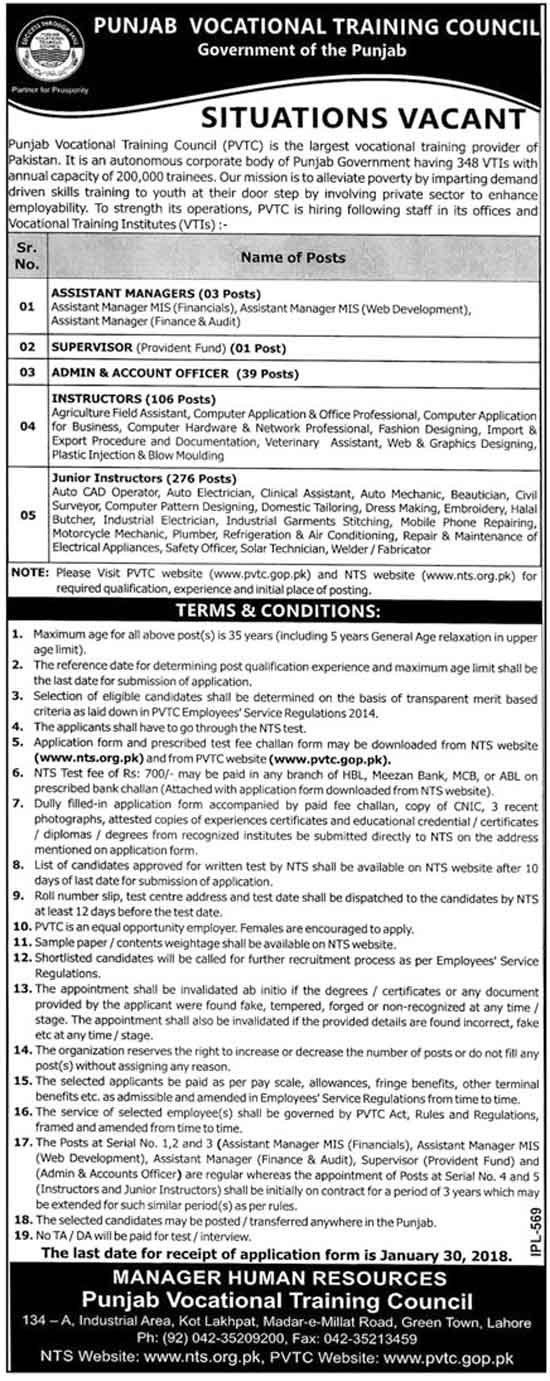 Jobs In Punjab Vocational Training Council PVTC Jan 2018