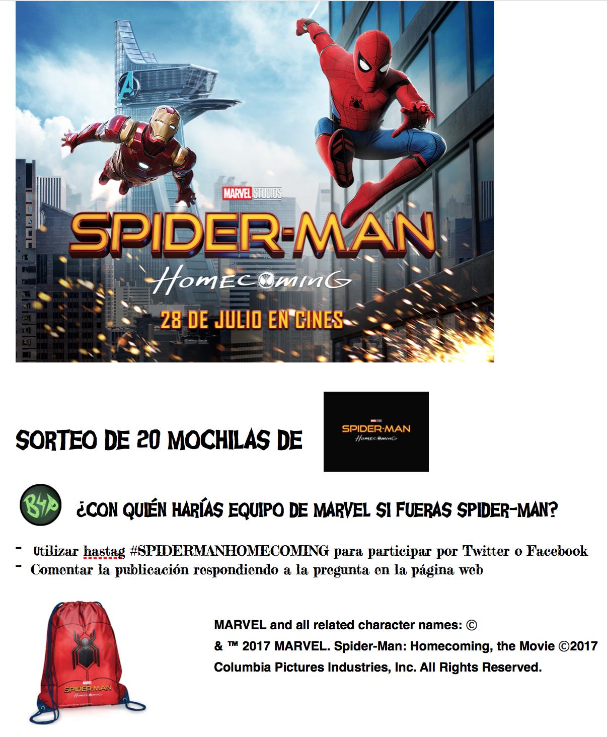 Sorteamos 20 espectaculares mochilas arácnidas de Spider-Man Homecoming