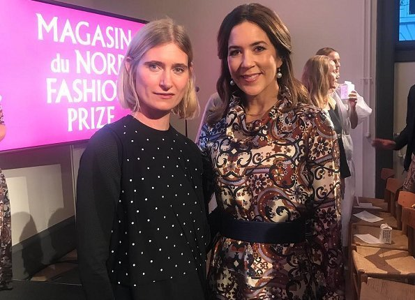 Crown Princess Mary and Danish fashion designer Lærke Andersen at Charlottenborg Exhibition Hall