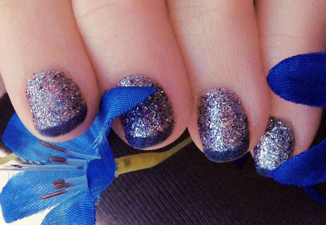 DIY glitter nail polish, eyeshadow French tips