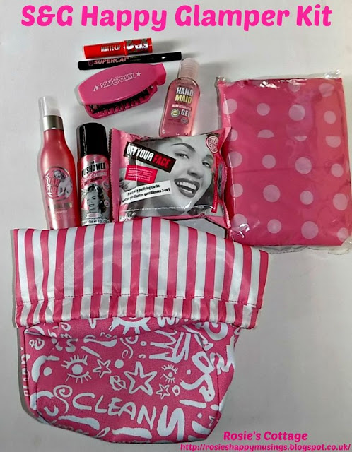 Contents of the Happy Glamper Kit from Soap and Glory...
