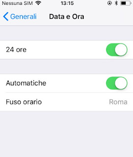 fuso orario automatico iPhone