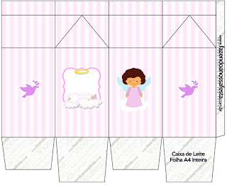 Brunette Angel Girl:, Free Printable Milk Box.