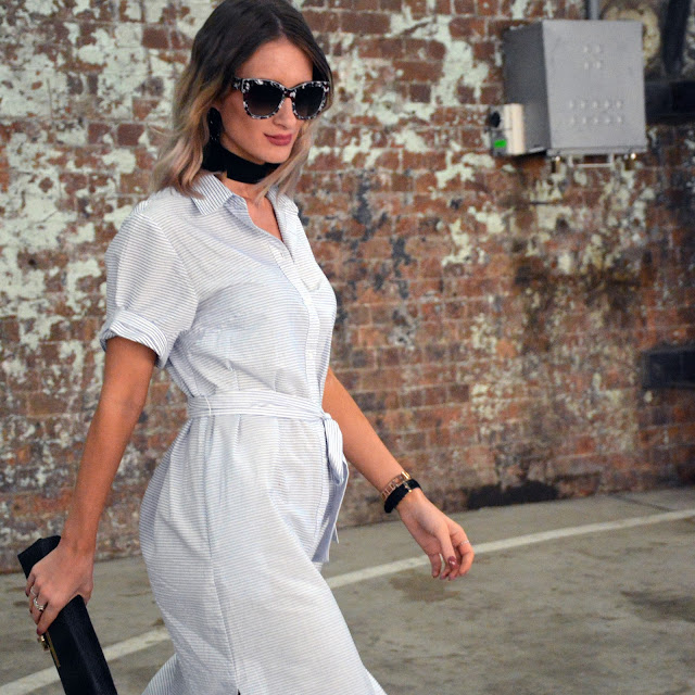 pinstripe fifth label shirtdress with dolce gabbana sunglasses and choker