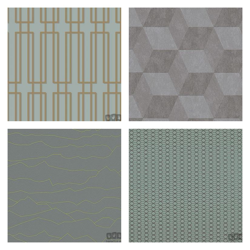 geometryczne wzory tapet, retro tapeta, szmaragdowa tapeta, zieleń na tapecie, tapeta do salonu, tapeta do sypialni