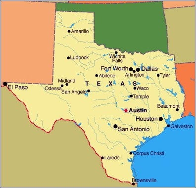 Political Map of Texas Area Poster Texas Map with