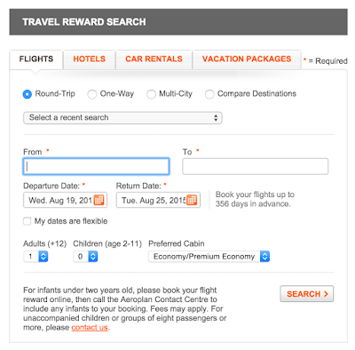 加拿大航空哩程票查詢頁面