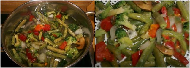 arroz integral con verduras y bacalao