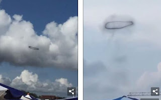 Shock as Strange Object Appears in the Sky, Changes Shape and Disappears Again (Video)