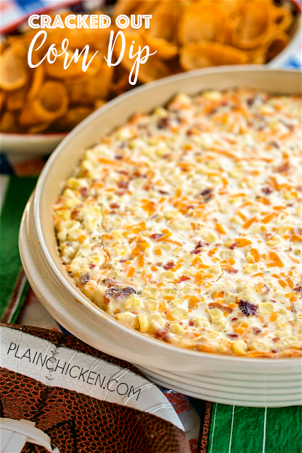Cracked Out Corn Dip - OMG! SO good! Corn, cream cheese, sour cream, cheddar, bacon and Ranch. I took this to a party and it was the first thing to go! Can make ahead and refrigerate until ready to eat. Our FAVORITE dip! YUM! Read more at https://www.plainchicken.com/2017/01/cracked-out-corn-dip-football-friday.html#loIsBhojpRxFQ8eG.99