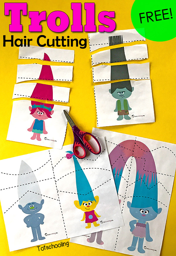 Trolls Hair Cutting Pack Totschooling - Toddler, Preschool, Kindergarten  Educational Printables