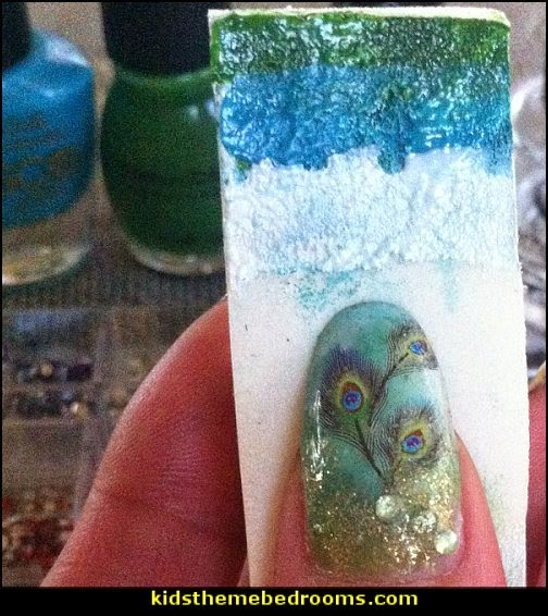 peacock nail design ideas-peacock nails water decal stickers-decorating nails
